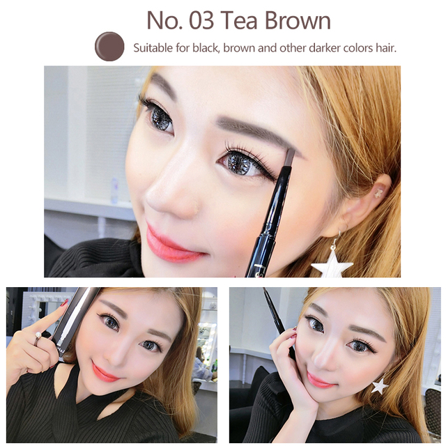 LAMILEE Brand Eye Brow Tint Cosmetics Natural Long Lasting Paint Tattoo Eyebrow Waterproof Black Brown Eyebrow Pencil Makeup Set 2
