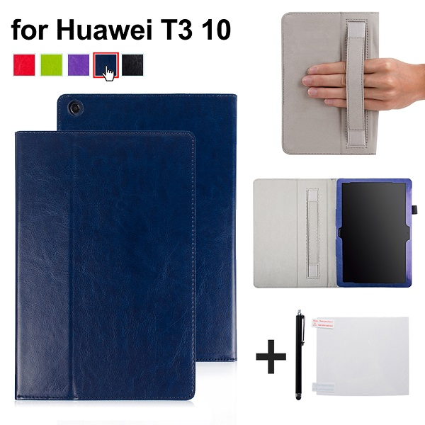 For 2017 Huawei MediaPad T3 10 AGS-W09 AGS-L09 PU Leather Cover Case for 9.6'' Tablet Stand Cover with hand holder + gift for huawei mediapad t3 7 0 wifi case soft silicone case cover for huawei mediapad t3 7 0 bg2 w09 7 inch tablet pc gifts