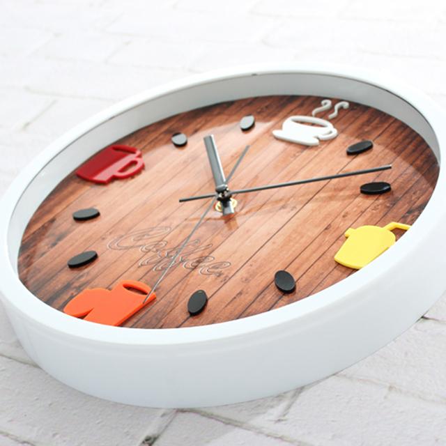 Fashion Design Round Kitchen Restaurant Wall Clock Popular Cup Coffee Bean Wall Clock Silent Non-tickingWall Clock
