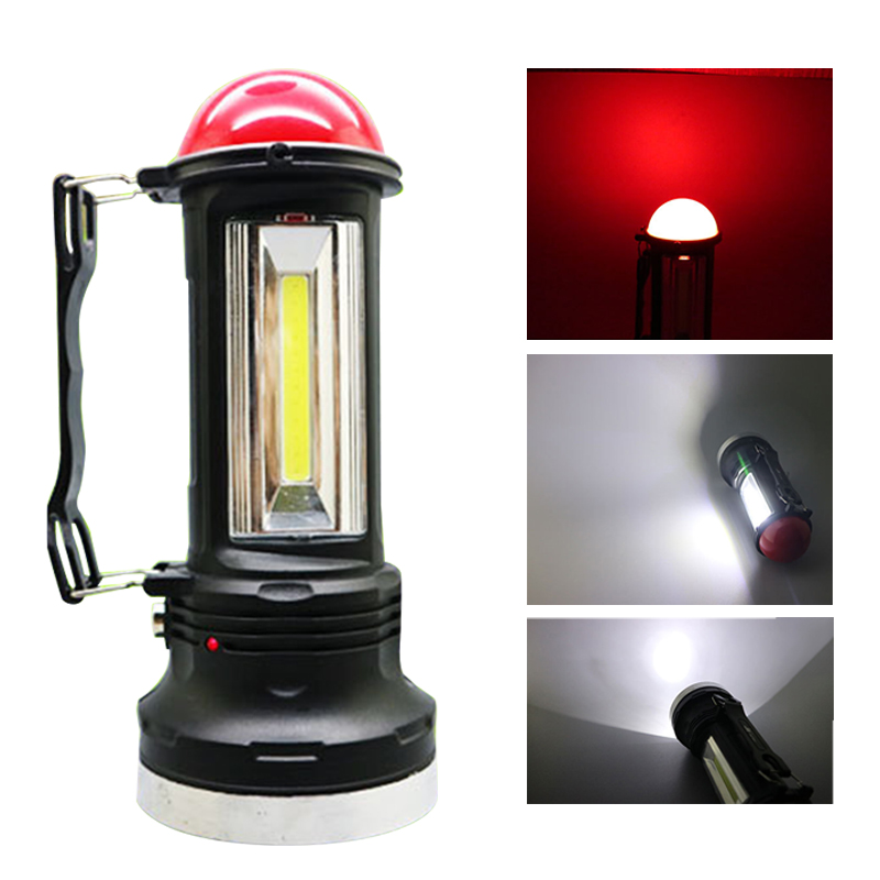 New Solar Rechargeable Flashlight COB portable searchlight LED solar Rechargeable Lantern COB Camping Lights Tent Camping Light