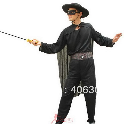 free party dress up costume men adult black zorro costumes with hat cape