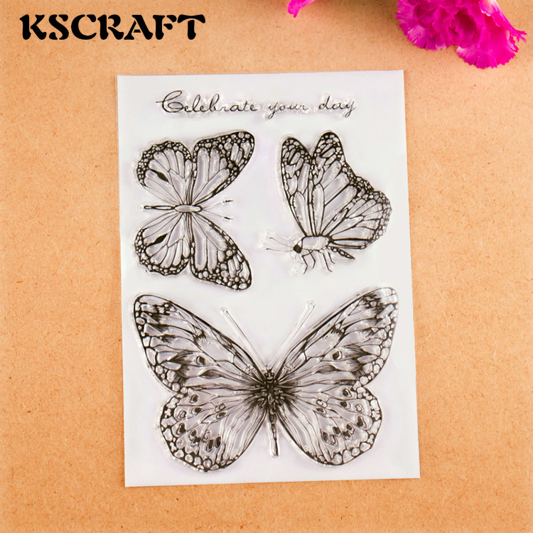 KSCRAFT Butterflies Transparent Clear Silicone Stamps for DIY Scrapbooking/Card Making/Kids Fun Decoration Supplies kscraft butterfly and insects transparent clear silicone stamps for diy scrapbooking card making kids fun decoration supplies