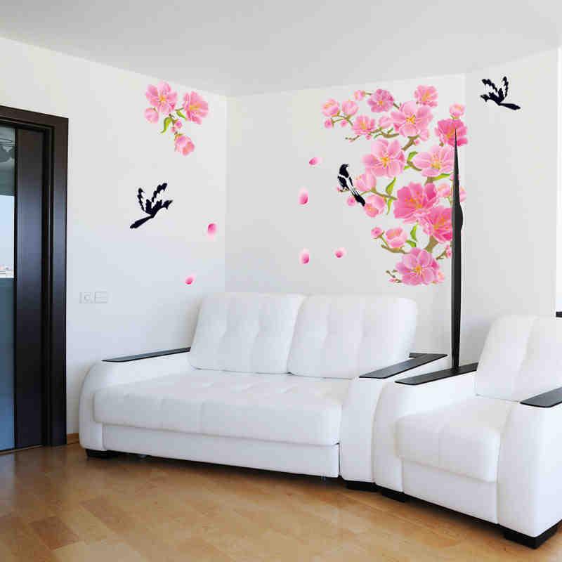 Cherry Blossom flower Birds Wall Stickers Sofa TV Background Sticker ...