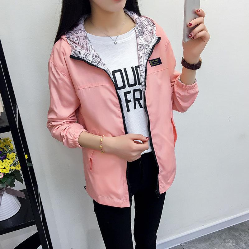 2019 New Spring Autumn Women   Basic     Jacket   Pocket Zipper Hooded Two Side Wear Cartoon Print Outwear Loose Coat Windbreaker Female
