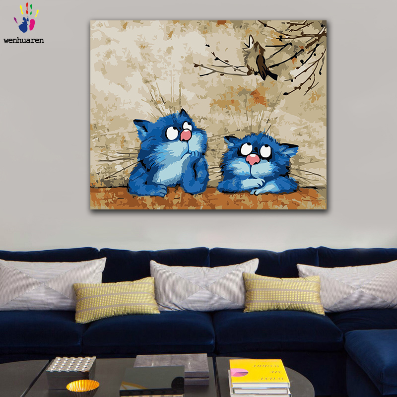 DIY Coloring Paint By Numbers Two Little Blue Cats With Little Bird Animals Figure Paintings By Numbers With Kits 40x50 Framed