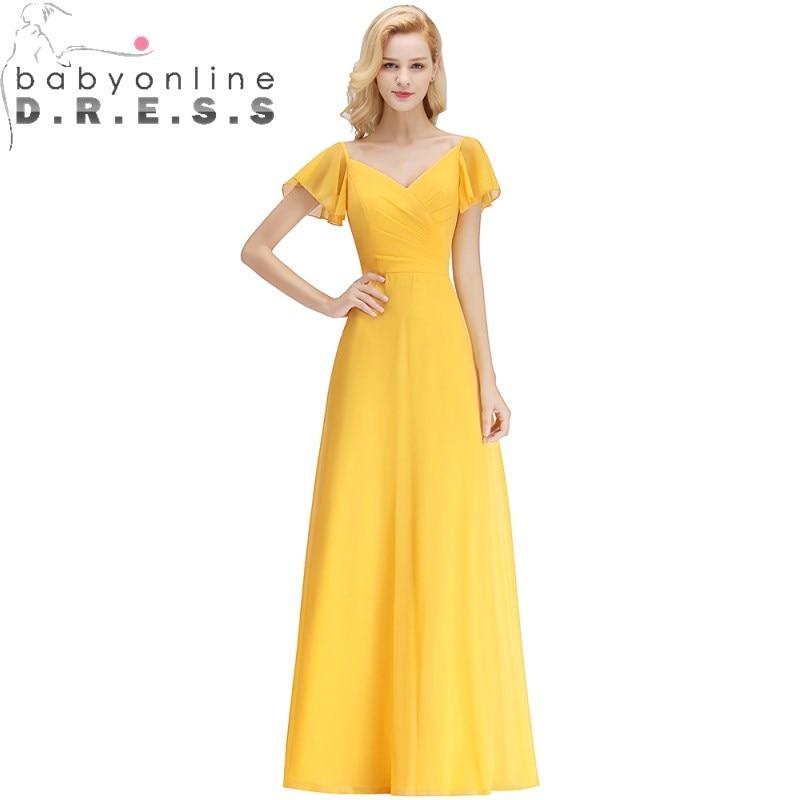 Charming Candy Color Long Bridesmaid Dresses  V Neck Short Sleeve Zipper Back Chiffion Dress Robe Demoiselle D'honneur