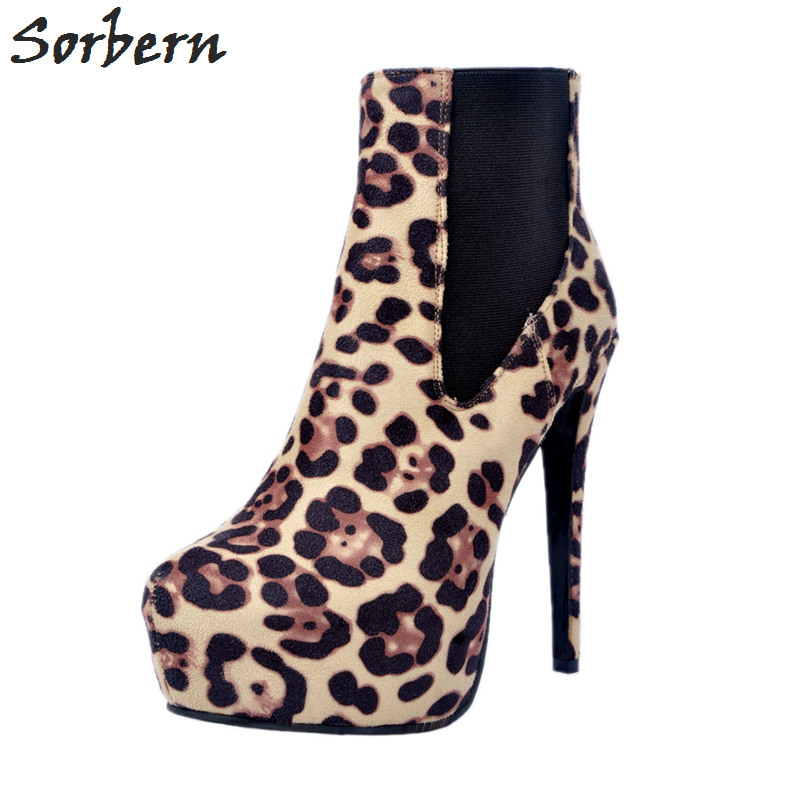 Leopard Ankle Boots For Women High Thin Heels Leopard Faux Suede Boots Platform Shoes Ladies Women's Shoes Size 42 Custom Color fashion tassels ornament leopard pattern flat shoes loafers shoes black leopard pair size 38