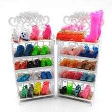 f5473a897c Besegad 1 Pcs Sapatos Rack De Cabine + 20 Pares Sapatos Acessórios Para  Móveis Casa De Bonecas Decoração Boneca para Barbie do A..