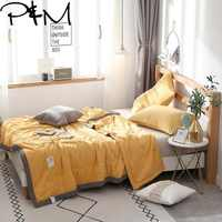 Papa&Mima Solid color quilted Summer Comforter NO pillowcases Twin full Queen Size Polyester Fabric Air conditioning Quilt