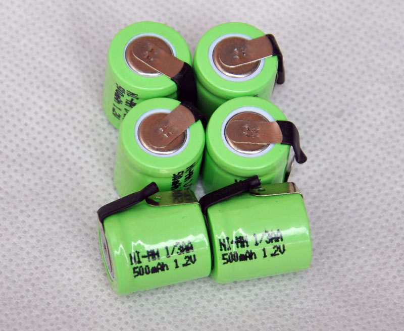 6PCS/lot 1.2V 1/3AA 500mAh Ni-Mh Nimh 1/3 AA Rechargeable Battery cell with welding feet leg pins tab flat top