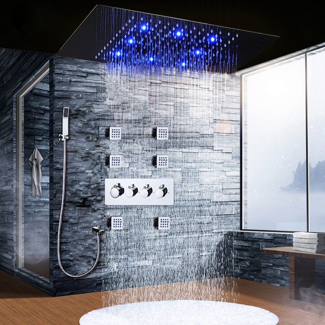 Bathroom Accessories Modern Shower Faucet Ceiling LED Large Rain ...