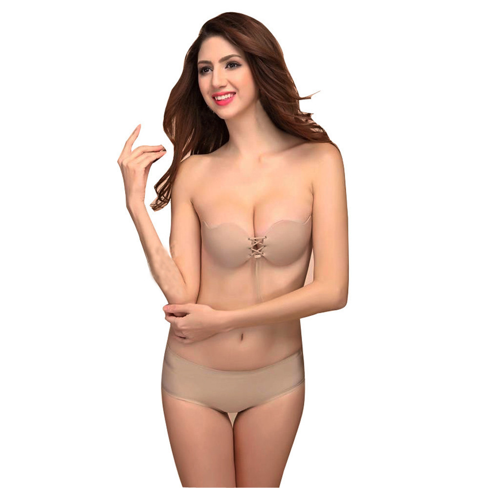 2019 News Women Sexy Underwear Costumes Erotic Lingerie Strapless Instant Breast Lift Invisible Silicone Push Up Bra Porn