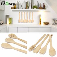 Set Of 6 Bamboo Kitchen Tools Utensil Set Bamboo Spoon Bamboo Fork Bamboo Spoon Set Wooden