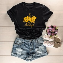 Bee The Change T-Shirt tumblr graphic vintage grunge cotton Honeycomb aesthetic street style casual  tees tops
