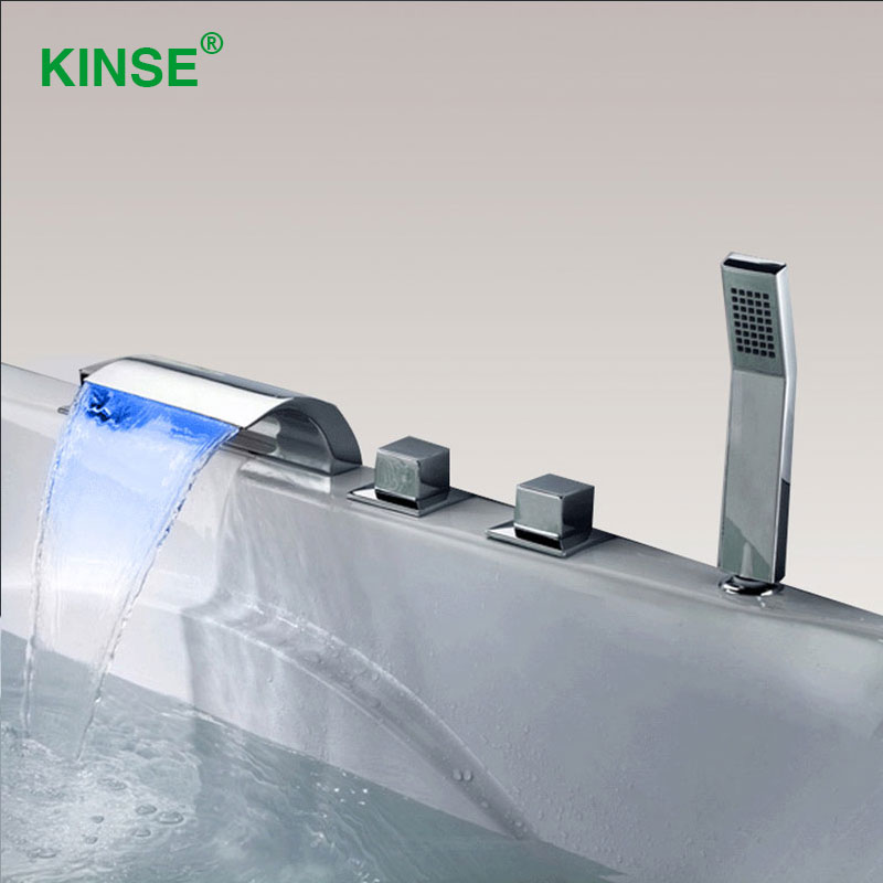 KINSE Brass Material Chrome Finish LED Waterfall Bathtub Faucet Contemporary Style Bathroom Bath Tub Mixer with Hand Shower sognare new wall mounted bathroom bath shower faucet with handheld shower head chrome finish shower faucet set mixer tap d5205