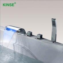 Kinse латунь Материал хромированная отделка LED Водопад Для ванной ванна кран современные Стиль Ванная комната Для ванной Ванна смеситель с ручной душ