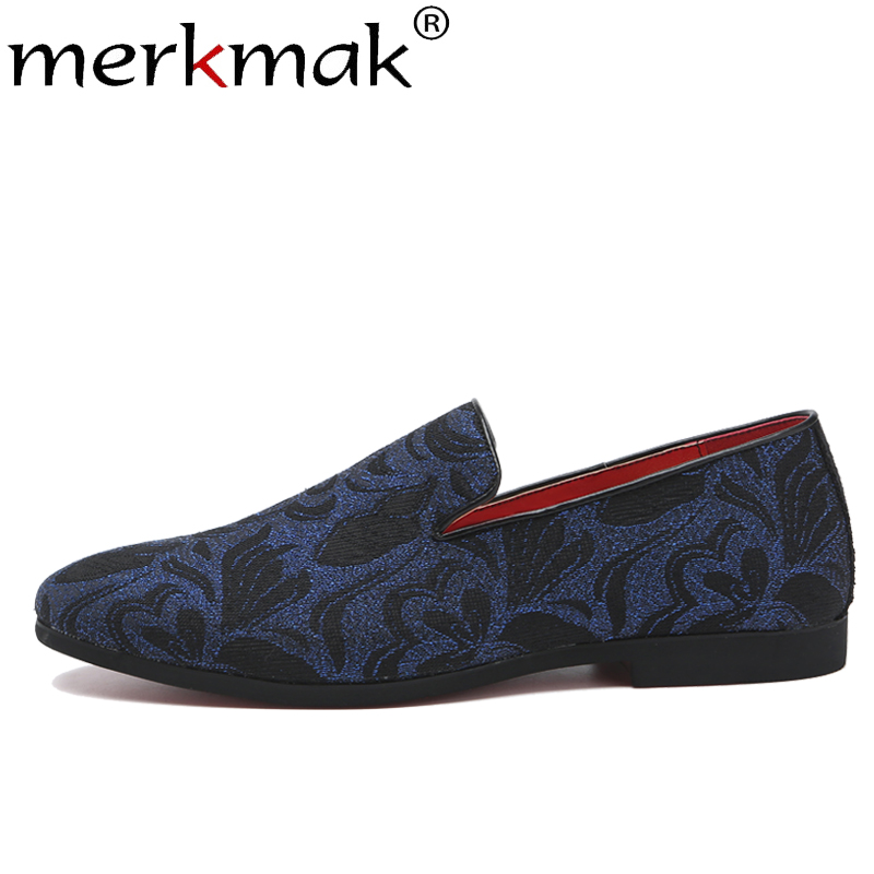 Merkmak Embroidery   Suede   Men Loafers Summer Classic Floral Pattern Shoes Footwear Slip On Big Size 37-48 Casual Shoes Male Flats