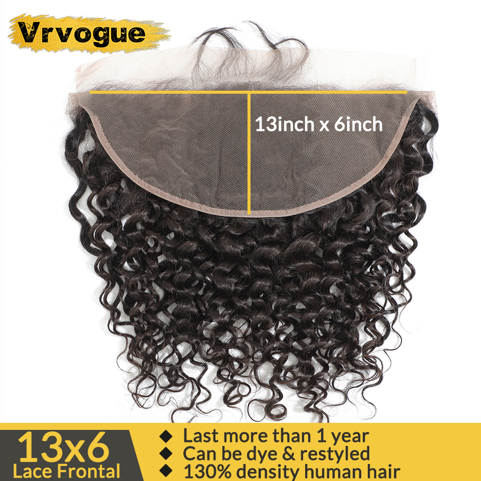 Vrvogue Hair Preplucked Brazilian Water Wave Frontal Natural Colour Remy Human Hair 13x6 Ear To Ear Lace Frontal Closure