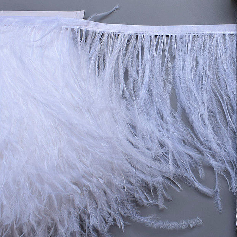 White Ostrich Feather Strip Tail Feather Trims Ribbons Strip for Dress Party Clothing Craft Making Wedding Decorations Supplies in Feather from Home Garden