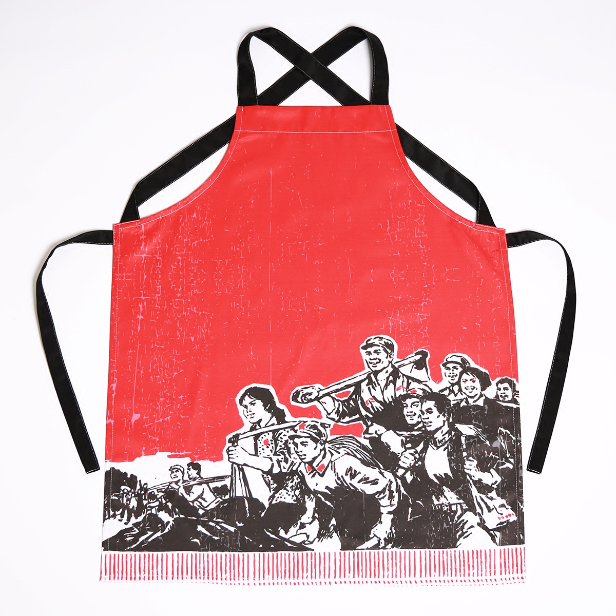 Chinese Vintage Style Waterproof Printing Kitchens Restaurants Sleeveless Aprons Uniforms Custom LOGO Polyester Cotton Blended