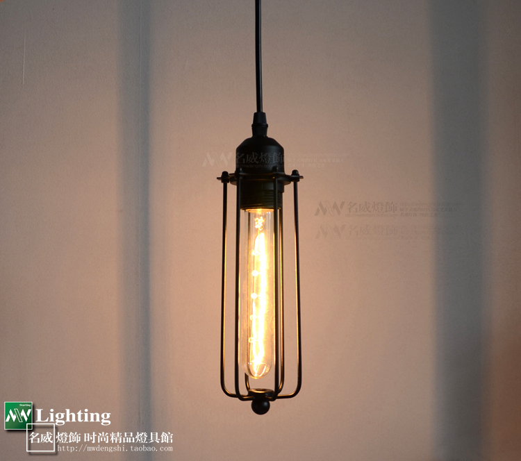 ФОТО Vintage Industrial  Black LOFT  Mini Pendant Cage Lamp Come With Edison Bulb