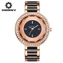 HMMWV Marca Mujeres Grandes Reloj Pulsera Relojes de pulsera de Cristal Blanco Señoras Vestido Blanco Negro Dial Grande Rhinestone Relogio Feminino