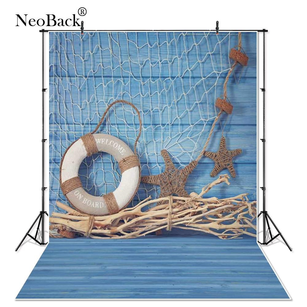 NeoBack Vinyl Cloth newborn Children photographic background Summer blue Navy stars fishingnet buoy Studio Photo Backdrops P0955 3 5m vinyl custom photography backdrops prop nature theme studio background j 066