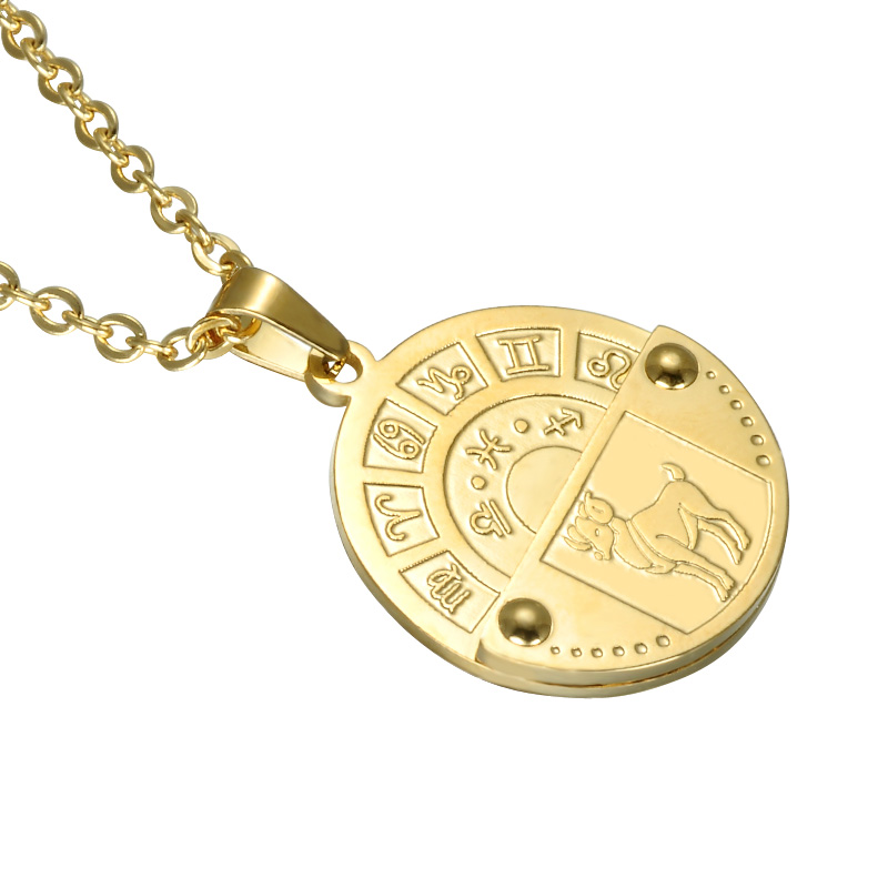Zodiac Dog Tag Stainless Steel Pendant Necklace: 12 Zodiac Sign Constellation Men Pendant Necklace Gold