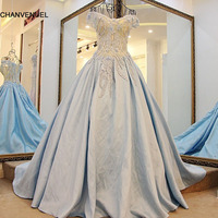 LS42041 Long Dress Party Evening Elegant with Short Sleeve Appliques V Neck Lace Ball Gown Light Blue Prom Dresses Fast Shipping