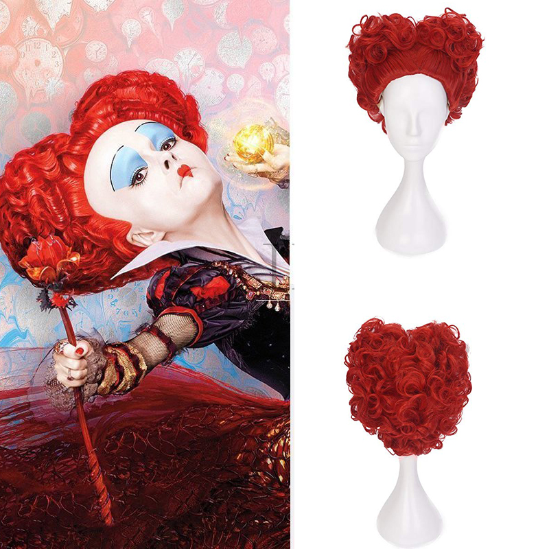 Halloween Alice In Wonderland Red Queen Cosplay Wig Role Play Queen Of Hearts Costume Red Hair +Wig Cap