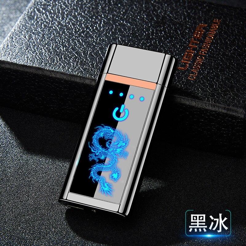 Chinesische drachen volle-bildschirm fingerprint induktion lade leichter USB elektronische zigarette leichter