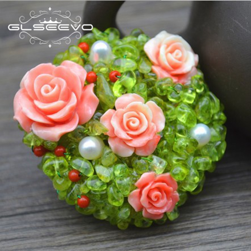GLSEEVO Natural Aquamarine Fresh Water Pearl Brooch Pins Coral Flower Brooches For Women Dual Use Designer Fine Jewelry GO0260
