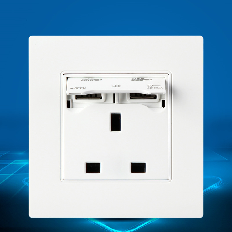 Multifunction 13A Wall socket usb Electrical Outlet With 2100mA Dual USB Charger Port for Mobile AC/DC Power Adapter Plug Outlet usb wall socket dual 2 usb port 5v 2 4a wall outlet panel plug socket electrical power outlet charger adapter for cell phone