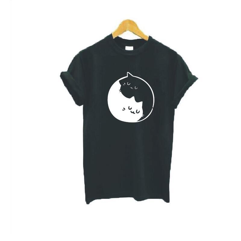 Yin et chat motif imprimé T Shirt femmes mode grande taille à manches courtes coton drôle t shirt Femme esthétique Art haut pour Femme - 2