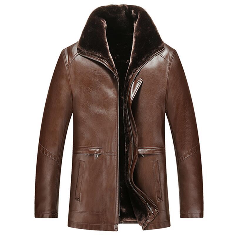 Winter mens plus thick velvet jacket Garment leather jacket Casual flocking Leather Coat Mens Clothing Leather overcoat Men