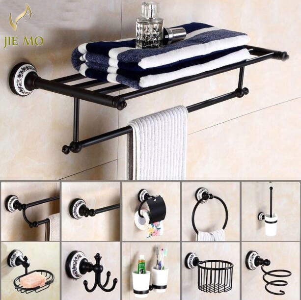 New Black Poceilain Decoration Finish Copper Br Bathroom Accessories Bath Hardware Set Towel Rack Bar