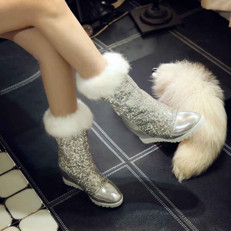 Charming 2017 New Fashion Height Increasing Women Snow Boots Round Toe High Heels Platform Mid Calf Boots Thick Fur Winter Shoes