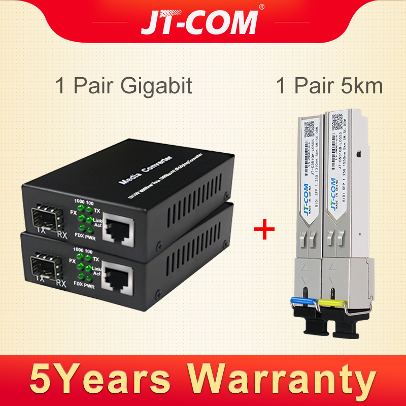 Шт. 2 шт. Gigabit Media Converter трансивер sfp-модуля 5 км 1000 Мбит/с Fast Ethernet RJ45 к волокно оптический коммутатор порты и разъёмы SC одиночный режим