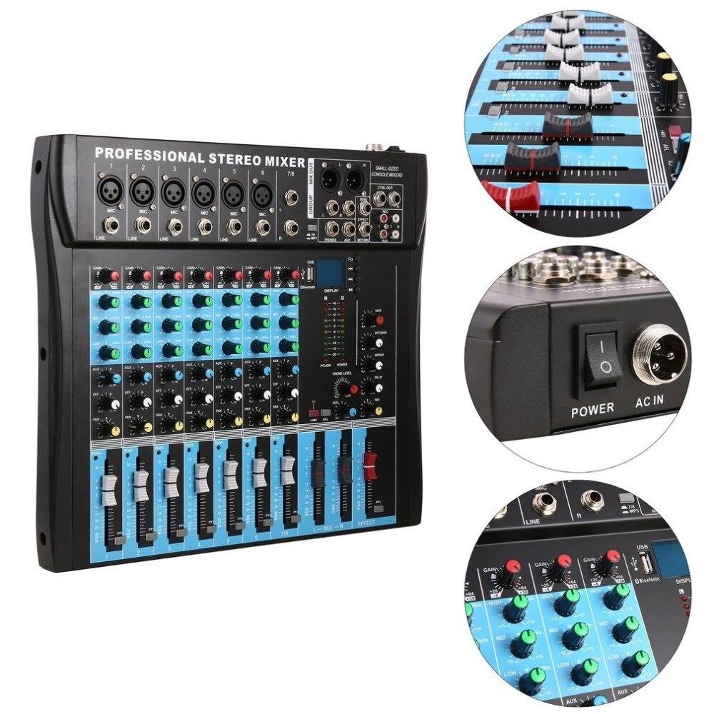 CT8 8 канальный профессиональный стерео микшер Live USB Студия Аудио Звуковая консоль сетевой якорь устройство вокальный эффект процессор - 3