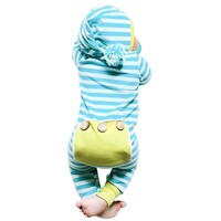 Baby Girl Romper Winter Autumn Funny Hairball Hooded Infant Boy Jumpsuit Rompers Long Sleeve Stripe Kids