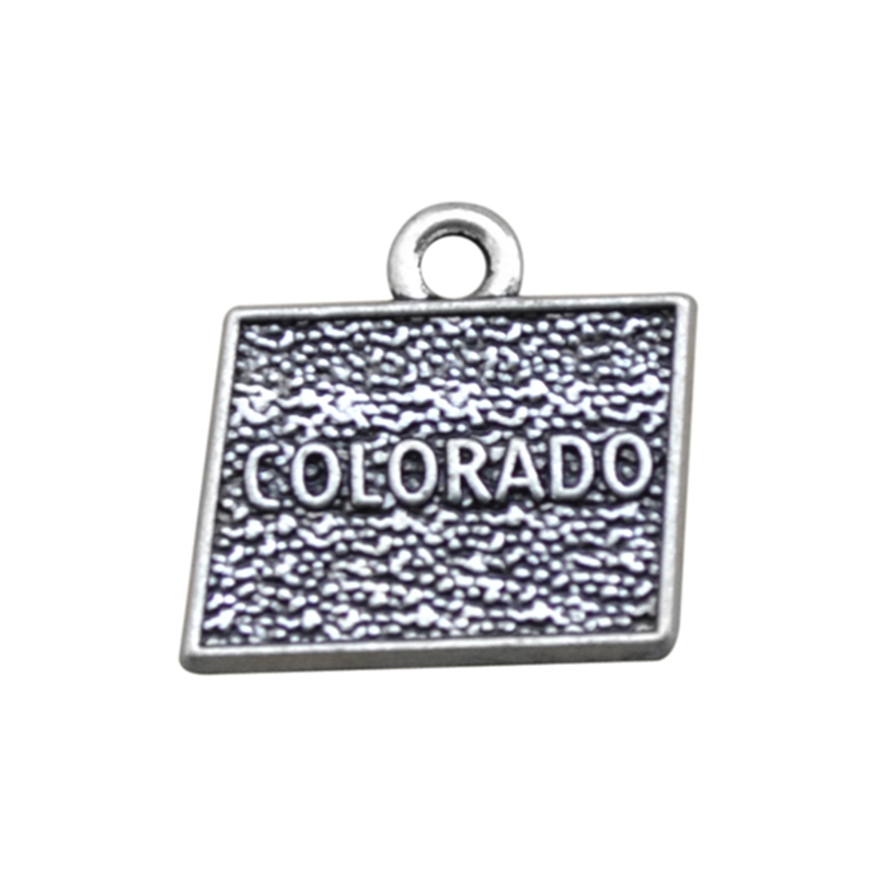 2 Style Silver Colorado State Map Dangle Charms Jewelry DIY Findings Fit Bracelet Necklace 50PCS