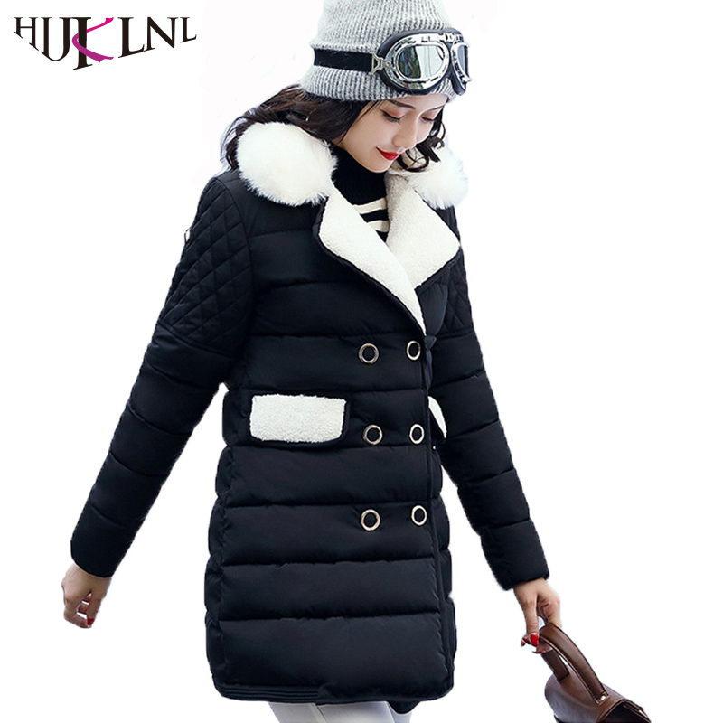 HIJKLNL Women Winter Jacket With Fur 2017 Plus Size Turn Down Collar Long Winter Coat Femme Cotton Padded Parkas Mujer NA315 uwback 2016 new brand winter jacket women plus size 4xl faux fur collar down coat women black thicken padded parkas mujer tb1181