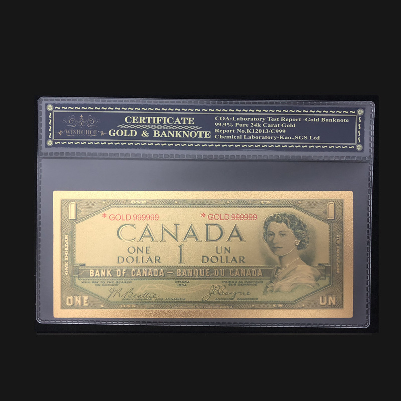 Nice Canada Gold Banknotes 1 Dollar Banknotes In 24k Gold Fake Paper Money With COA Frame For Collection