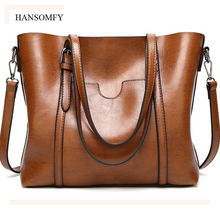 Simple large capacity Handbags For Women 2017 summer Oil Wax PU soft leather luxury Famous brand