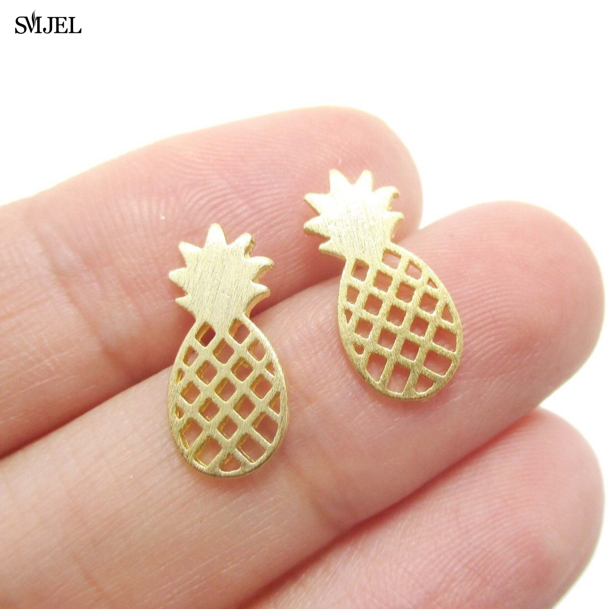 SMJEL 2017 Women Fruit Earrings Fashion Jewelry Pineapple Stud Earrings for Women Party Gifts