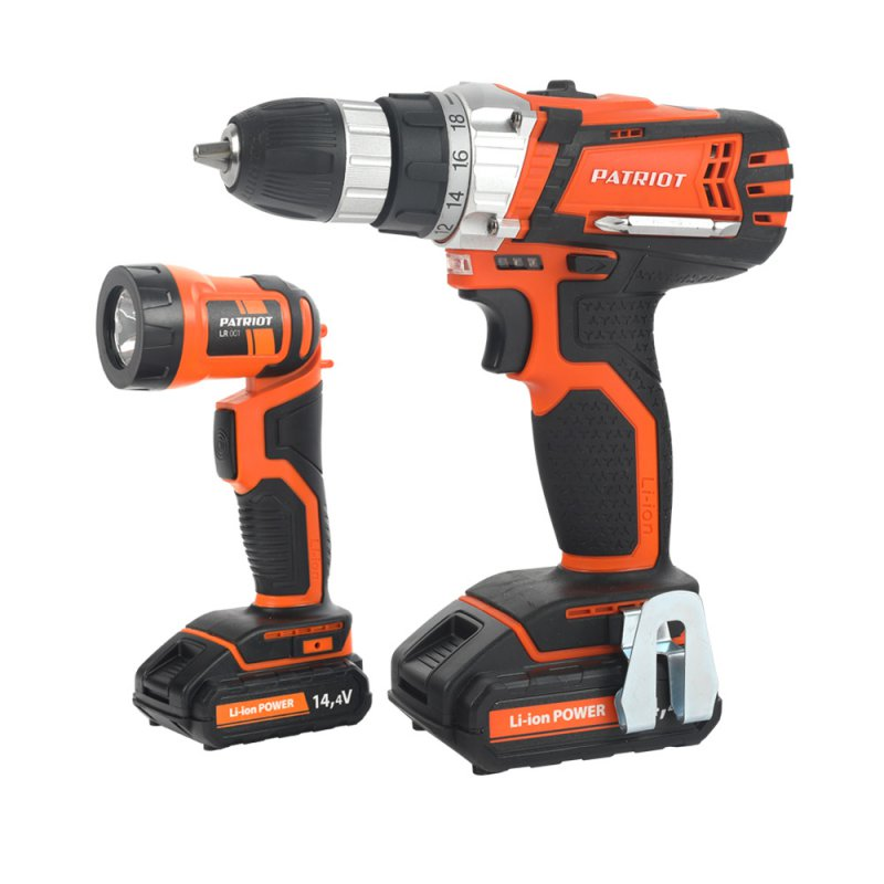 Drill-screwdriver rechargeable PATRIOT BR 144Li LED The One (2 speed, work light, flashlight, free shipping)