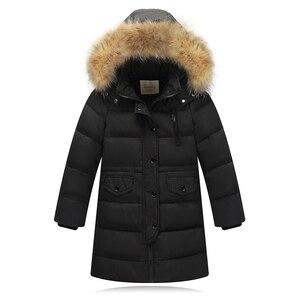 Image 4 - Kızlar kalınlaşma sıcak aşağı ceketler çocuk kürk yaka kapşonlu aşağı mont kız rüzgar geçirmez ceket rusya soğuk kış