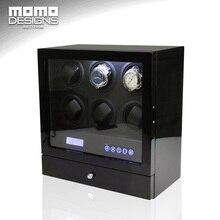Deluxe смотреть winder дисплей Япония Мабучи двигателя коробка со светодиодной подсветкой и для 6 автоматические часы