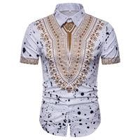 Men's Ethnic Floral 3D Three dimensional Printing Short sleeved Men Camisa Social Camiseta Masculina Shirts Chemise Homme
