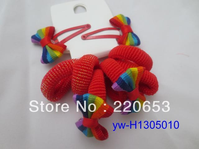 free shipping(12pcs/lot) Rainbow color flower elastic hair band  +Drop clip
